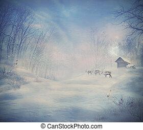 diseño, reno, -, invierno, bosque