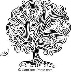 diseño, resumen, árbol, su, raíces