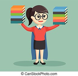 diseño, súper, niña, bibliotecario, ilustración