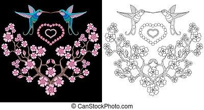 diseño, sakura, bordado, colibrí