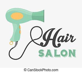 diseño, salón, pelo