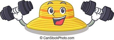 diseño, se siente, sombrero, verano, durante, barbells, feliz, alzar, ejercicio, mascota
