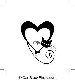 diseño, silueta, su, amor, gato