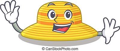 diseño, simpático, sombrero, verano, sonriente, mano, ondulación, estilo, mascota