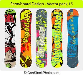 diseño, snowboard, 15, paquete