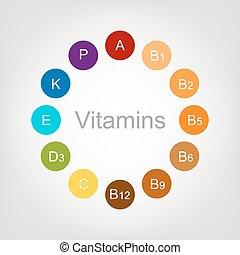 diseño, su, colección, vitaminas