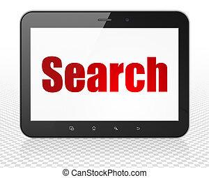 diseño telaraña, concept:, computadora personal tableta, computadora, con, búsqueda, en la exhibición