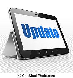 diseño telaraña, concept:, tableta, computadora, con, actualización, en la exhibición