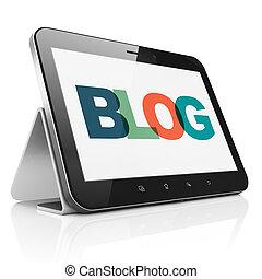 diseño telaraña, concept:, tableta, computadora, con, blog, en la exhibición