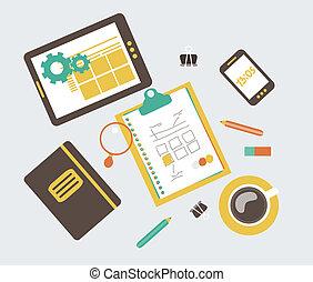 diseño telaraña, desarrollo, workflow