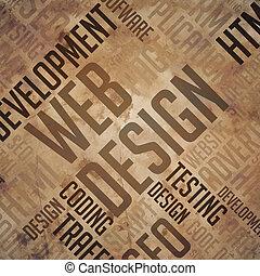 diseño telaraña, -, grunge, marrón, wordcloud.