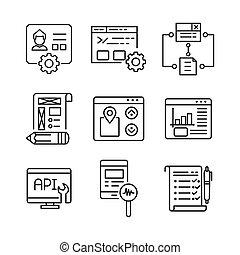 diseño telaraña, y, desarrollo, icono, conjunto