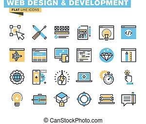 diseño telaraña, y, desarrollo, iconos