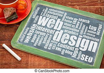 diseño telaraña, y, desarrollo, palabra, nube