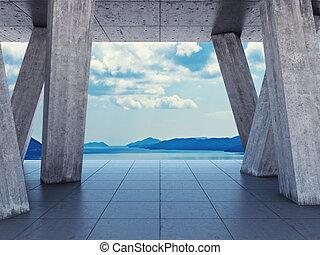 diseño, terraza, arquitectónico