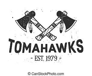 diseño, tomahawks, cruzado