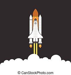 diseño, transbordador espacial, plano