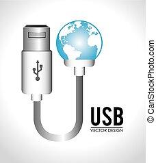 diseño, usb