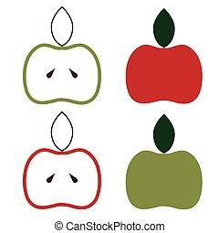 diseño, vector, conjunto, manzanas, plantilla