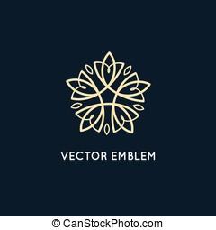 diseño, -, vector, cosméticos, logotipo, belleza, concepto