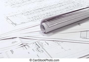 diseño, y, proyecto, drawings.