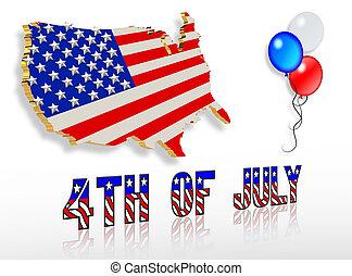 diseños, arte, clip, 4, patriótico, julio, 3d