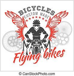 diseños, bicicleta, illustration., fashion., vuelo, vector