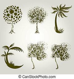 diseños, con, decorativo, árbol, de, l