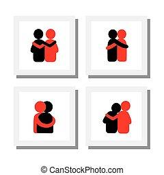 diseños, conjunto, iconos, -, abrazar, vector, cada, ...