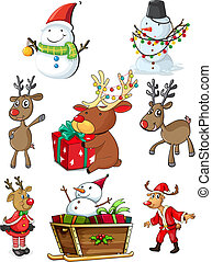 diseños, conjunto, navidad