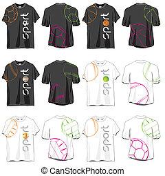 diseños, deporte, conjunto, camisetas