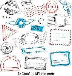 diseños, grunge, coloreado, sellos, pasaporte, correo