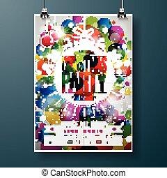 diseños, pelota, resumen, tipografía, ilustración, vidrio, alegre, fiesta, feriado, navidad