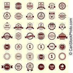 diseños, variedad, vendimia, vector, retro, insignias