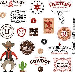 diseños, viejo, occidental