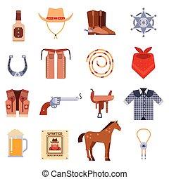 diseños, viejo, vaquero, vendimia, icons., señal, norteamericano, vector, occidental, gráficos