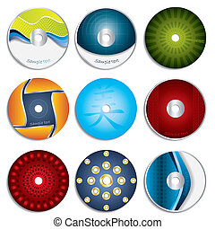 diseños, y, dvd, cd, 3, etiqueta