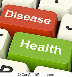 Disease And Health Computer Keys Showing Online Healthcare Or Treatments