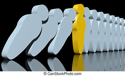Disease control - abstract 3d rendering of men-like pawns...