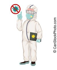 Disease control experts in protective work wear