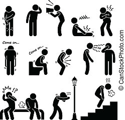 Disease Illness Sickness Symptom - A set of human pictograms...