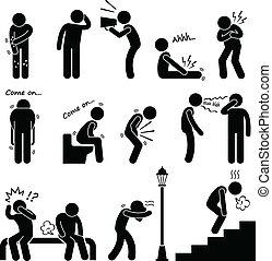 Disease Illness Sickness Symptom - A set of human pictograms...