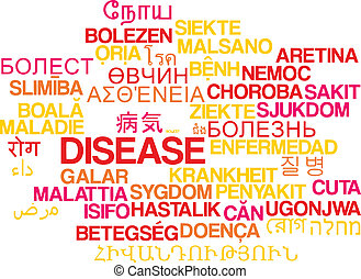 Disease multilanguage wordcloud background concept