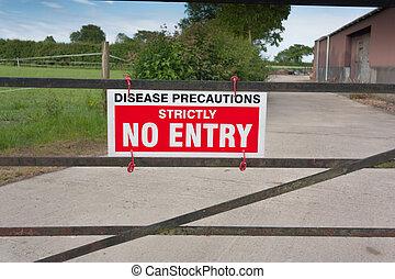 Disease Precautions No Entry Sign, on a gate, forbidding entry to a farmyard.