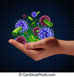 Disease risk medical health care concept with a human hand holding microscopic cancer virus and bacteria cells as a metaphor for pathogen protection from contagious disease and illness.