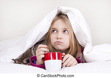 disease - Sick young girl with thermometer in bed