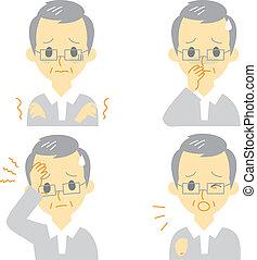 Disease Symptoms 01, old man - Disease Symptoms 01, fever...
