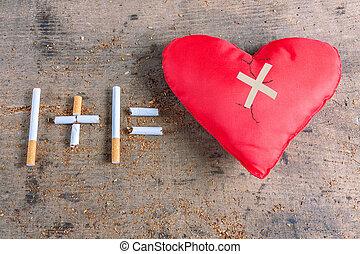 Diseased heart. Antismoking background. Stop smoking