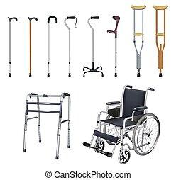 diseases., ensemble, transport, illustration., gens, moyens, fauteuil roulant, système, vecteur, walkers., béquille, arrière-plan., objets, musculoskeletal, réaliste, blanc, canne, monde médical, spécial, auxiliary