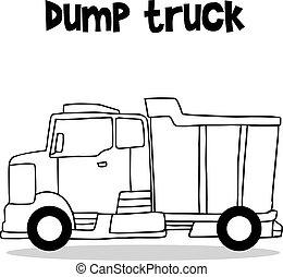 disegnare, camion, collezione, discarica, mano